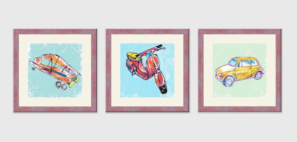 Репродукция картина - Горизонтальный коллаж из трех рамок