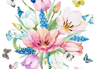 Репродукция картина - Цветочная акварель весна